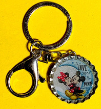 Mickey Minnie Mouse Coke Sprite Diet pepsi & more Soda beer cap Keychain image 2