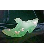Fenton Art Glass Willow Green Hand Painted Melon Cat Slipper Shoe Scott ... - $55.00