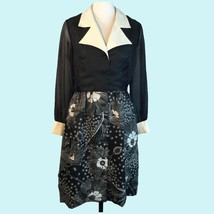 Vtg Alfred Shaheen Op Art Black White Floral Shirt Dress Notch Collar M/L - $63.86