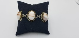 Vintage Gold Tone Bracelet Linked With White & Copper Flake Stone Pieces - $19.32