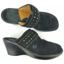 Born Clog Sandals Suede Leather Size 8,39 Black - $21.28