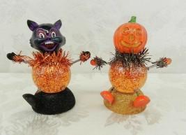 Halloween Cat & Pumpkin Figurine Bobble Head Glitter Snow Globe Colorful... - $10.88
