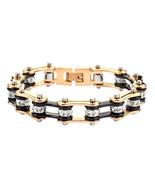 Women's Stainless Steel Black Gold Bling Bike Chain Bracelet USA Seller! - $20.00