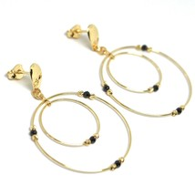 Drop Earrings Yellow Gold 750 18K,Double Circle,Tourmaline,Spheres image 1