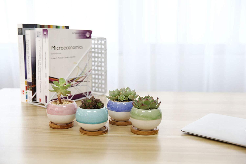 3'' Succulent Planters Pots Ceramic, Ball Shape Drainage Cactus Pots Window