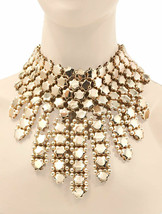 Statement Evening 2 Necklaces Set in 1 Faux Pearl Crystal Pageant Drag Bridal - $71.20