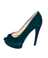 Boutique 9 Nixit Dark Turquoise Green Suede Platform Open Toe Heels- Sz: 7M - $49.45
