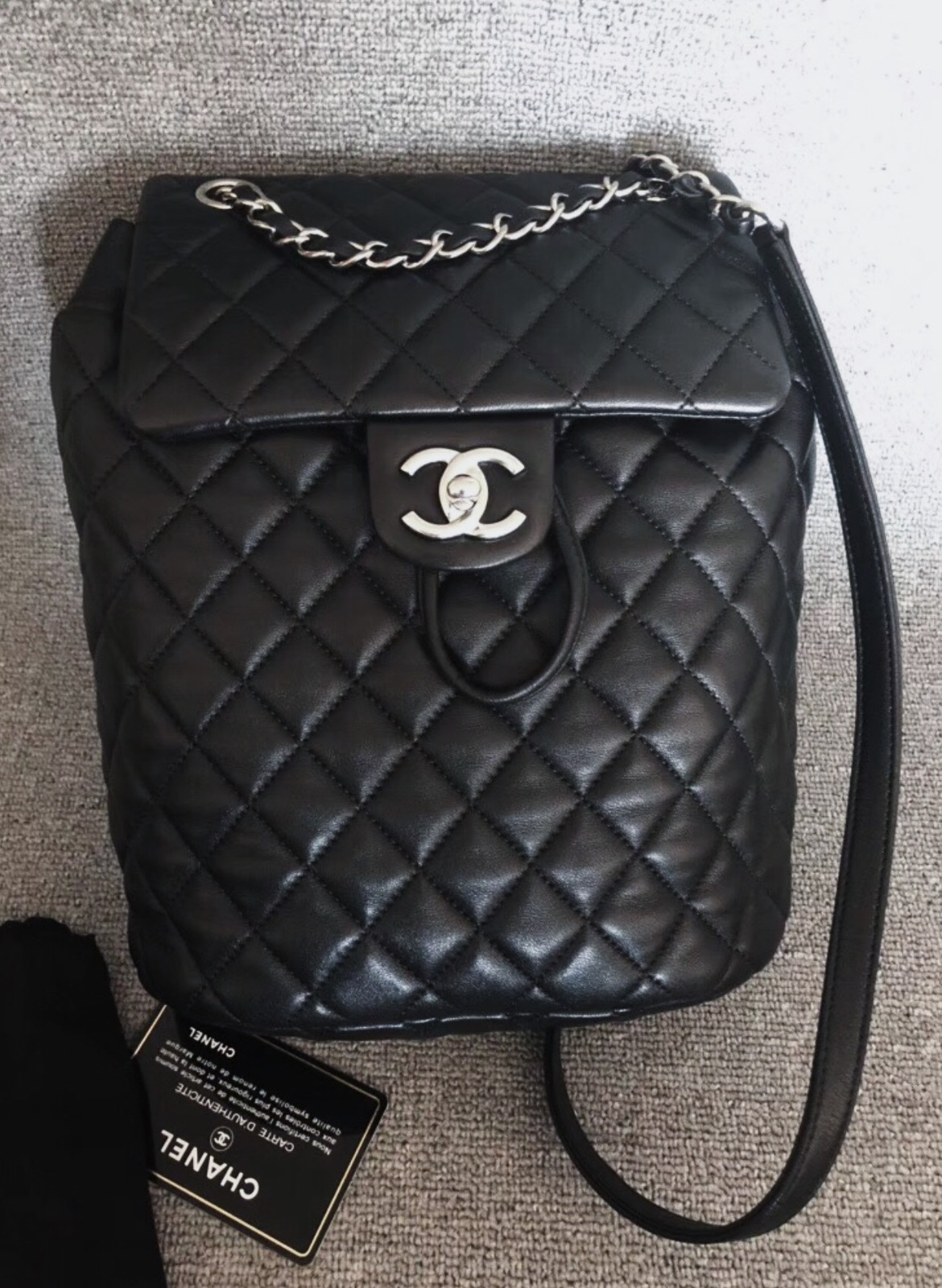 100% AUTHENTIC CHANEL 2017 BLACK QUILTED LAMBSKIN URBAN SPIRIT BACKPACK SHW