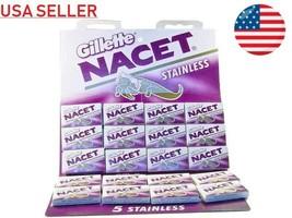 100 Gillete NACET STAINLESS Double Edge Razor Blades DE Shaving Barber R... - $15.83