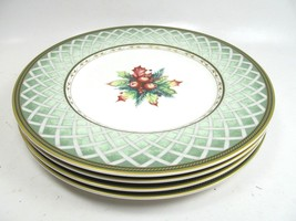 """Fitz and Floyd 5 Green Wreath Winter Holiday Salad 9 1/4"""" Plate Pristine - $81.18"""