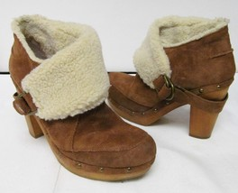NINE WEST Vintage America Collection Platform Boots Suede Leather Faux F... - $39.94