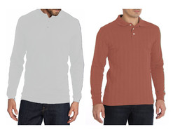 Set of 2 Saddlebred Mens Long Sleeve Collar Polo Shirt Pink Textured Whi... - $18.99