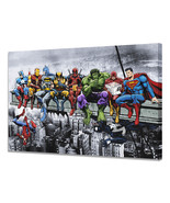 Marvel & DC Superheroes Lunch Atop A Skyscraper - Mounted Canvas (variou... - $29.99+