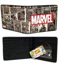 Buckle-Down Marvel Logo Retro Comic Covres Scene Blocks Men Bi-Fold Wallet - $12.86