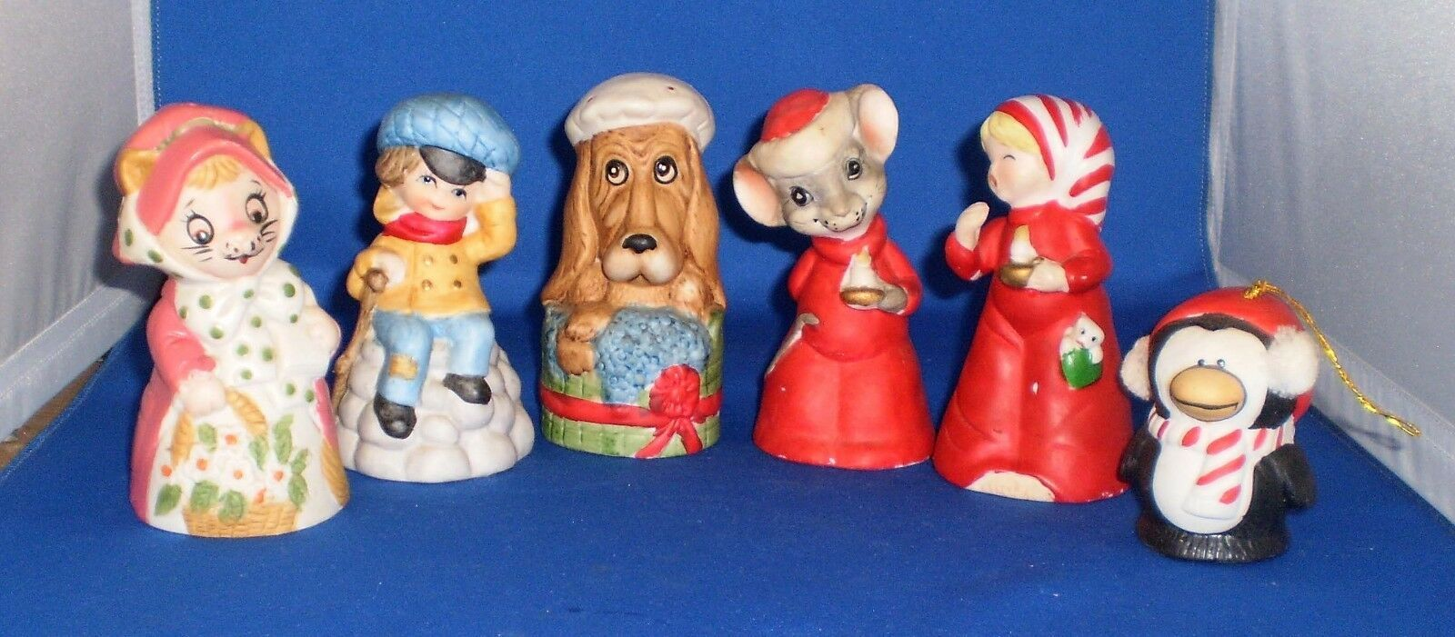 Primary image for Jasco Bisque Porcelain Bells Lot of 6 Penguin, Dog, Mouse Late 70s