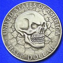 """Skull """"Hobo Nickel"""" on Kennedy Half Dollar Coin ** - $4.29"""
