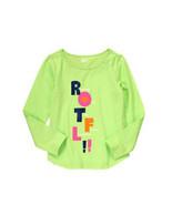 Crazy 8 Girls Tee Shirt Sz M 7 8 Cute Graphic Green 100% Cotton Long Sle... - $12.75