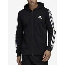 Adidas Athletics 3 Stripe Full-Zip Hoodie, Black, Medium - $69.29