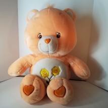 "Care Bears Friendship Plush Peach Teddy Bear Yellow Flowers 2002 24""  - $21.99"