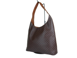 Authentic Celine Macadam Pvc Canvas Leather Brown Shoulder Bag CS17911L - $139.00