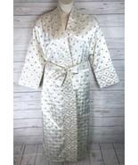 Victoria's Secret Long Satin Robe Women's XS Ivory Embroidered Tie Waist... - $76.49
