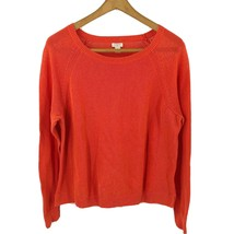 J Crew Linen Cotton Beach Sweater Size XL Orange Solid Long Sleeve Pullover - $29.70