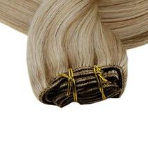 RUNATURE Clip on Human Hair Weft Extensions 14 Inches 100g 9pcs 16P24 Piano Colo image 4