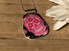 Recycled Broken Clay Jewelry, Pink Skull w/ Floral Design Pendant - $17.33