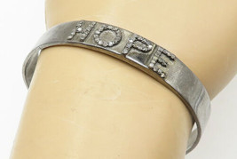 925 Silver - Vintage Genuine Diamonds Hope Dark Tone Cuff Bracelet - B5232 - $82.43