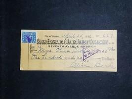 Obsolete Bank Check Corn Exchange Bank Trust Company New York 1936 W/ Ta... - $1.97