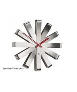 Wall Clock Ribbon Stainless Steel Home Decor Dining Living Modern Art De... - $65.44