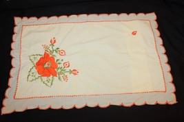 Vintage Embroidered Standard Pillow Sham Yellow Orange Flowers Shabby Chic  - $13.06