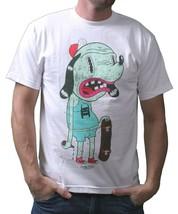 IM KING Mens White or Red Skateboarding Drunkies Dog T-Shirt USA Made NWT image 2