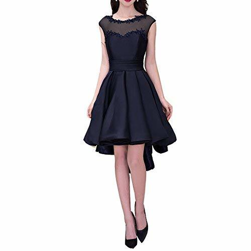 Primary image for Lemai High Low Cap Sleeves Bateau Juniors Beaded Prom Evening Dresses Dark Navy