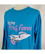 Vintage Western Pacific Airlines Long Sleeve Promo T-Shirt 2XL Two Sided... - $27.99