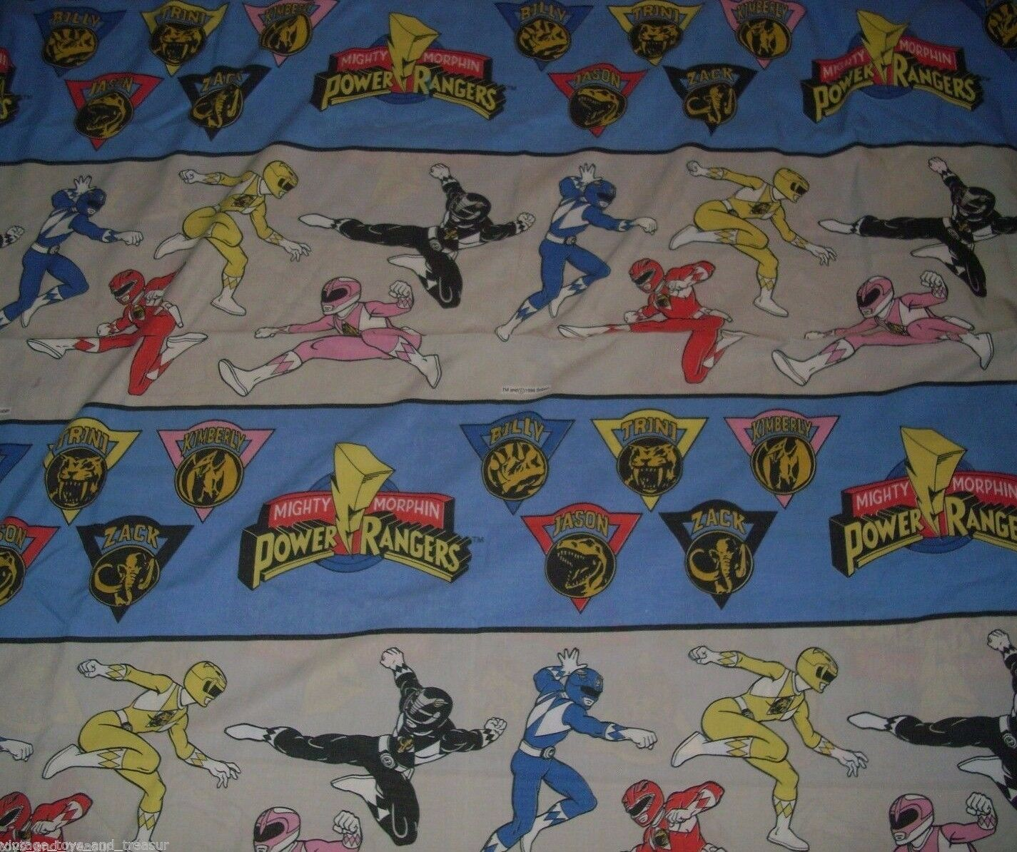 Primary image for VINTAGE 1994 MIGHTY MORPHIN POWER RANGERS TWIN FLAT SHEET BEDDING BLUE PINK RED
