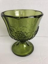 Anchor Hocking Glass VINTAGE Green Vase Grape/Leave Ftd - $19.79