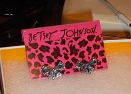 BETSEY JOHNSON LIGHT BLUE RHINESTONE BOW STUD EARRINGS NWT - $18.00