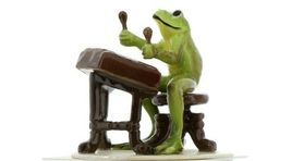 Hagen Renaker Miniature Frog Froggy Mountain Breakdown Dulcimer Ceramic Figurine image 4