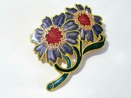 ENAMEL PURPLE DOUBLE FLOWER PIN - $9.00