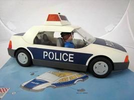 Playmobil Toy Blue Police Car w Officer, 1997 Geobra Flashing Lights Acc... - $17.95