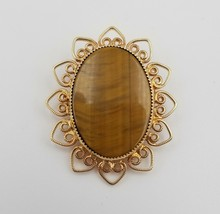 "Pretty Vintage Tigers Eye & Gold Tone Brooch Pin Pendant 1 1/2 x 1 1/4"" - $14.84"
