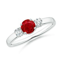 0.81ct Ruby and Diamond Three Stone Engagement Ring Gold/Silver/Platinum - $1,419.14+