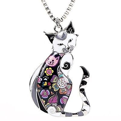Primary image for  Marte and Joven Enamel Printed Cat Box Chain Necklace For Women Teens Cat Great