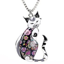 Marte and Joven Enamel Printed Cat Box Chain Necklace For Women Teens C... - $37.10