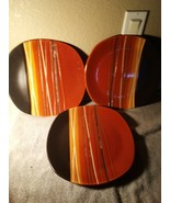 (3)  HOME TRENDS  BAZAAR  DINNER PLATES  ORANGE / BROWN STRIPED  -FREE S... - $31.68