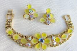 Vintage Juliana Yellow White Givre Glass Rhinestones Flat Bracelet Earri... - $67.50