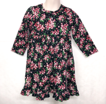 Hanna Andersson Toddler Girls Dress Sz 90 US Sz 3 Black Red Floral Ruffl... - $26.49