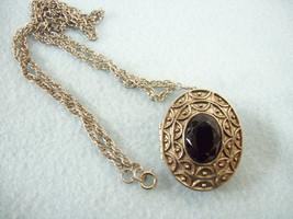 Avon Perfume Locket Onyx Black Cab Silver Plate Pendant Brooch Chain Nec... - $14.80