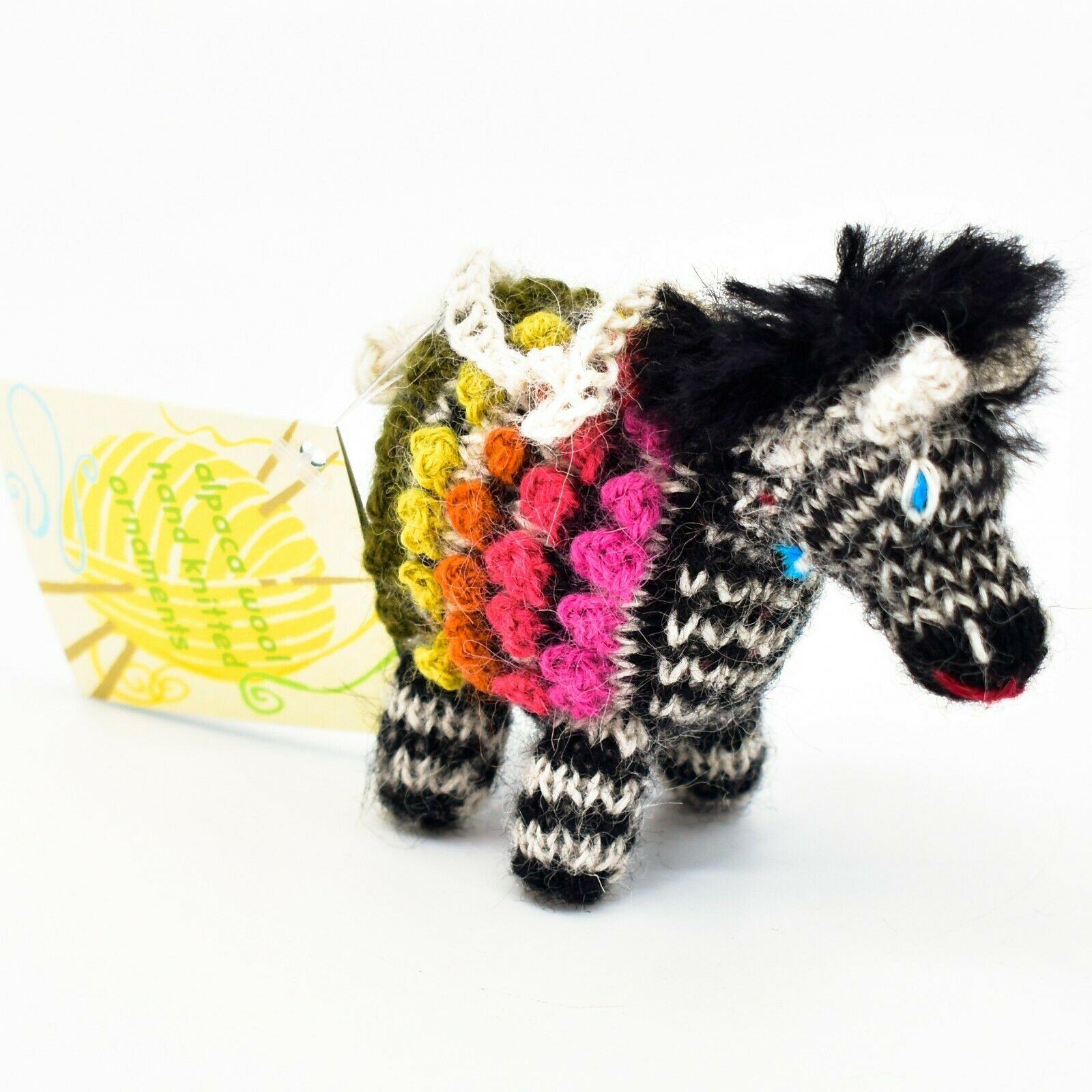 Handknit Alpaca Wool Whimsical Hanging Zebra Ornament Handmade in Peru